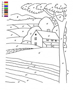coloring page Color by number Farm (10)