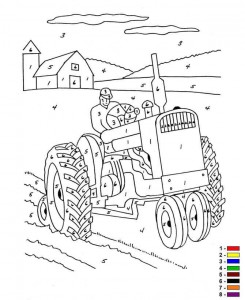 coloring page Color by number Farm (11)