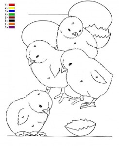 coloring page Color by number Farm (2)