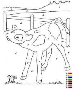 coloring page Color by number Farm (5)