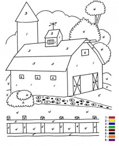 coloring page Color by number Farm (8)
