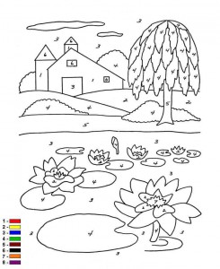 coloring page Color by number Farm (9)