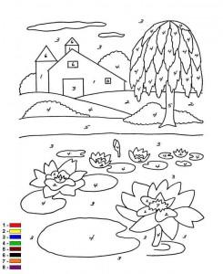 Malvorlage Farbe nach Zahlen Farm (9)