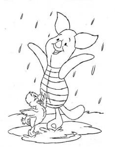 pagina da colorare Maialino sotto la pioggia