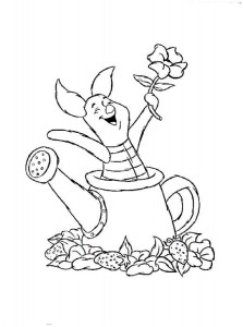 coloring page Piglet in watering can