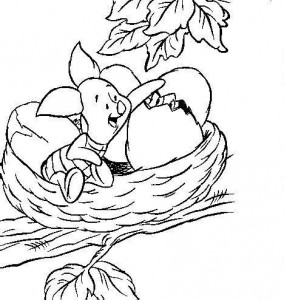 coloring page Piglet in nest