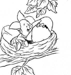 kleurplaat Knorretje in nest