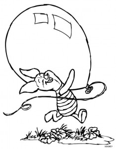 coloring page Piglet with balloon