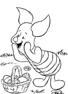 coloring page Piglet with Easter eggs