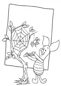 coloring page Piglet with spider