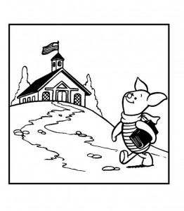 coloring page Piglet to school