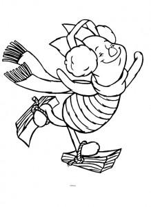 kleurplaat Knorretje schaatst