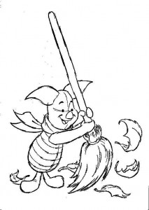 coloring page Piglet sweeps leaves (1)