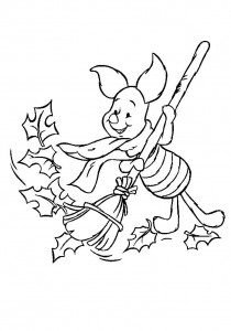 coloring page Piglet sweeps leaves (2)