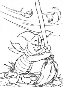 coloring page Piglet sweeps leaves