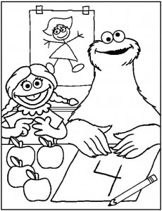 coloring page Cookie monster and Miesje
