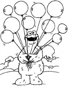 kleurplaat Koekiemonster met ballonnen
