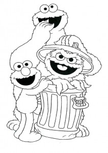 immagine da colorare Cookie monster, Oscar and Elmo