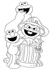 målarbok Cookie monster, Oscar och Elmo