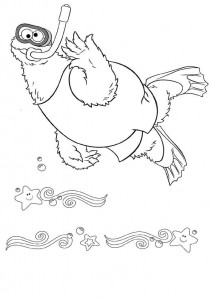 coloring page Monster swims