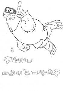 kleurplaat Koekiemonster zwemt