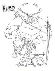 målarbok Kubo och det magiska svärdet