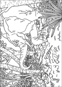 coloring page Tintin chased by an elephant