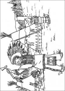 kleurplaat Kuifje als Indiaan
