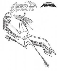 kleurplaat Kung Fu Panda Master Crane