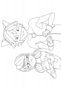 kleurplaat Ladybug Cat Noir 2