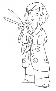 coloring page Laura with hug