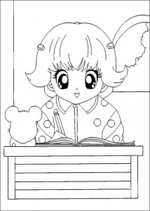 coloring page Laura at school