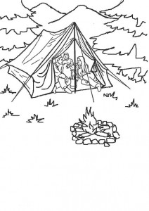 coloring page Fin camping