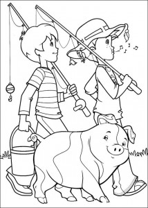 coloring page Nice fishing