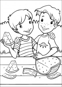 coloring page Eating tasty watermelon