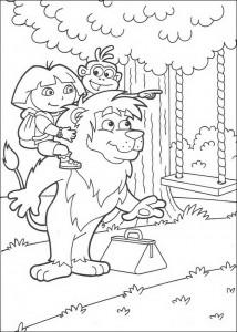 kleurplaat Leon, Dora en Boots (1)