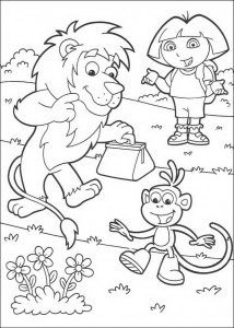 kleurplaat Leon, Dora en Boots (3)