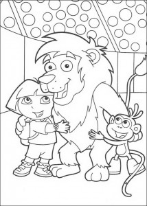 coloring page Leon, Dora and Boots