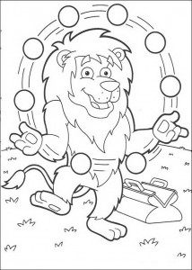 kleurplaat Leon jongleert