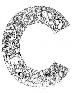 kleurplaat Letter C