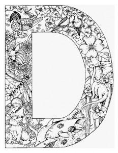kleurplaat Letter D