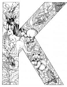 målarbok Bokstav K