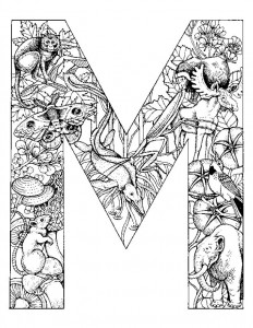 målarbok Bokstav M