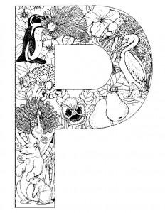 kleurplaat Letter P