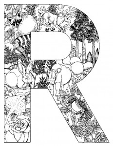 kleurplaat Letter R