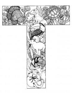 målarbok Bokstav T