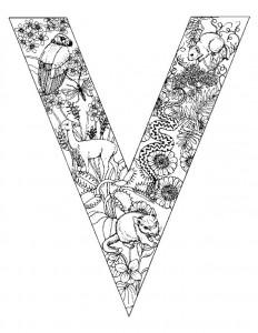 kleurplaat Letter V