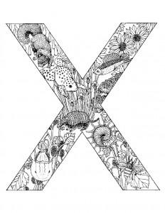 målarbok Bokstav X