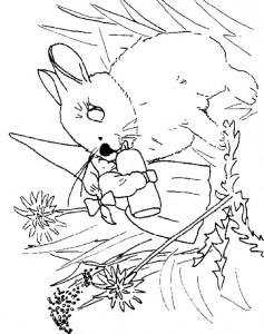 kleurplaat Lisa geeft jong konijntje de fles