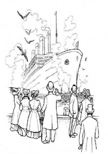 coloring page Separate from the quay